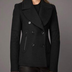 Belstaff Black Peacoat Wool Cashmere Zip Pockets
